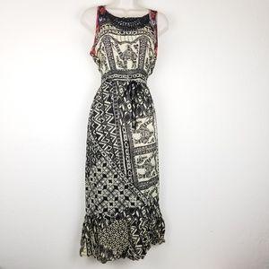 Lucky Brand Dress Beaded Boho Camel Print Sz M